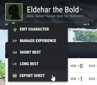 Export Sheet – D&D Beyond
